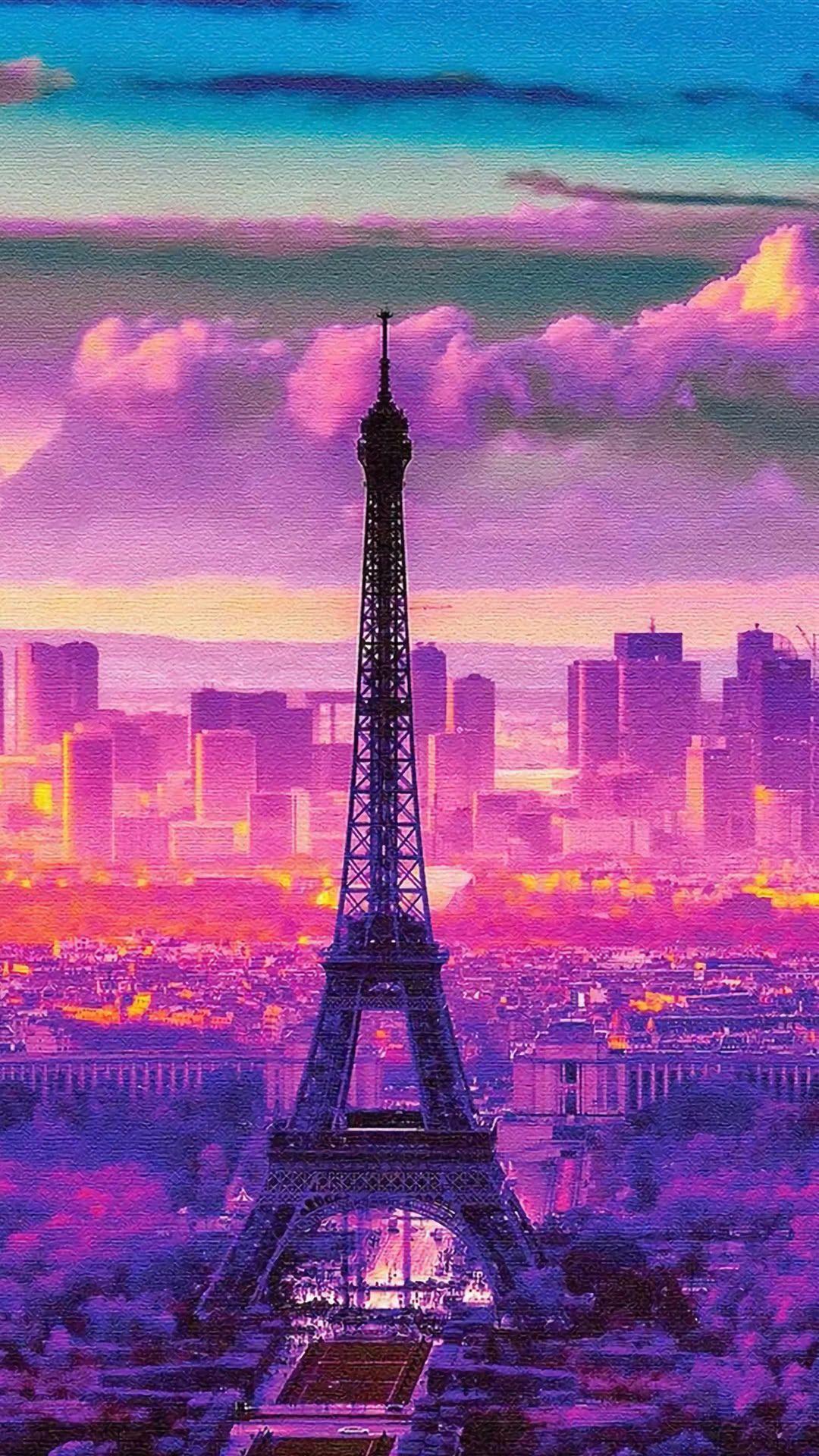 エッフェル塔のイラスト Iphonex スマホ壁紙 待受画像ギャラリー エッフェル塔 風景 ファンタジーな風景
