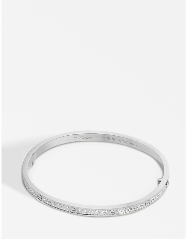 3ce3f753970 Cartier LOVE 18ct white-gold and diamond pave bracelet small ...