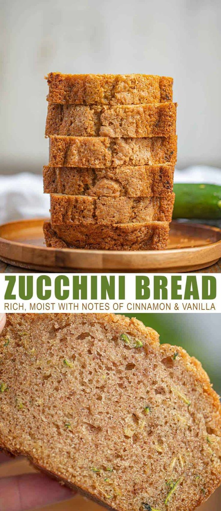 rich moist zucchini bread with notes of cinnamon and