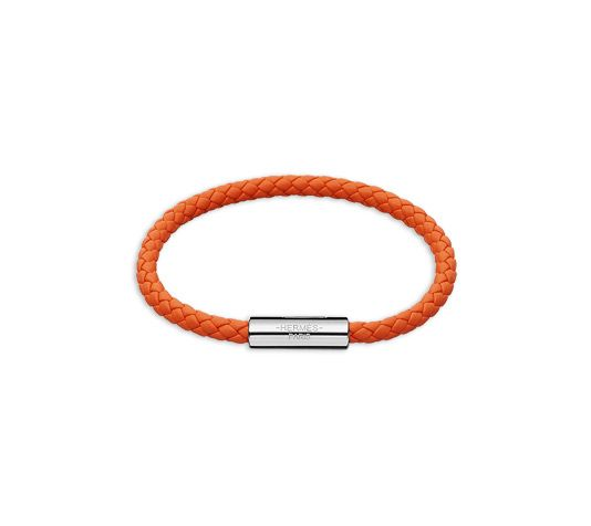 Goliath Hermes leather bracelet (size M) Orange swift