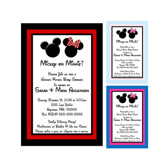 Baby Shower Invitations Mickey And Minnie ~ Mickey and minnie mouse inspired gender reveal baby shower