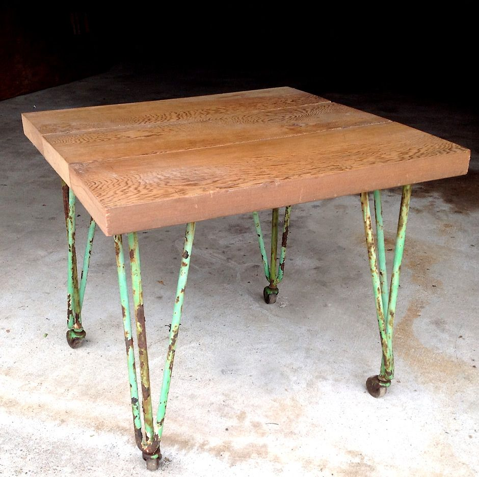 Xoxo Studio Solana Beach California: Vintage Green Metal Table Wood Top Jennifer Price Studio