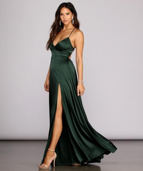 Windsor Vera Satin Lace Up Formal Dress in Emerald