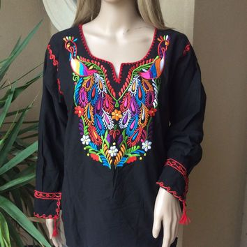 effb2854cc07 Mexican Peacock Embroidered Peasant Top Blouse