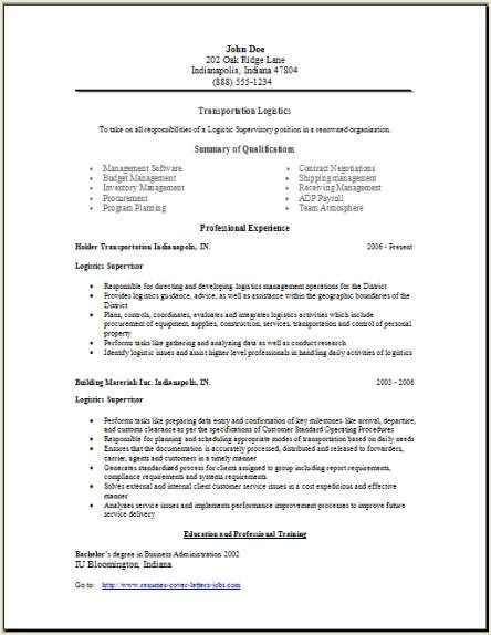 Transportation Logistics Resume2 Our House Cover Letter