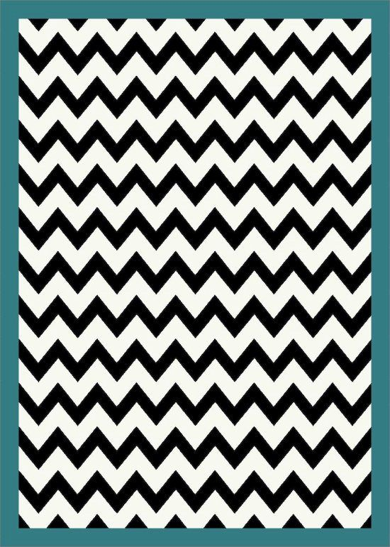 Black And White Chevron Striped Turquoise Border Rug