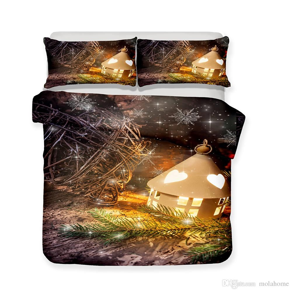 Christmas Fairytale Castle Pattern Printed Bedding Sets All Sizes Pillow Case Quilt Cover Duvet Cover