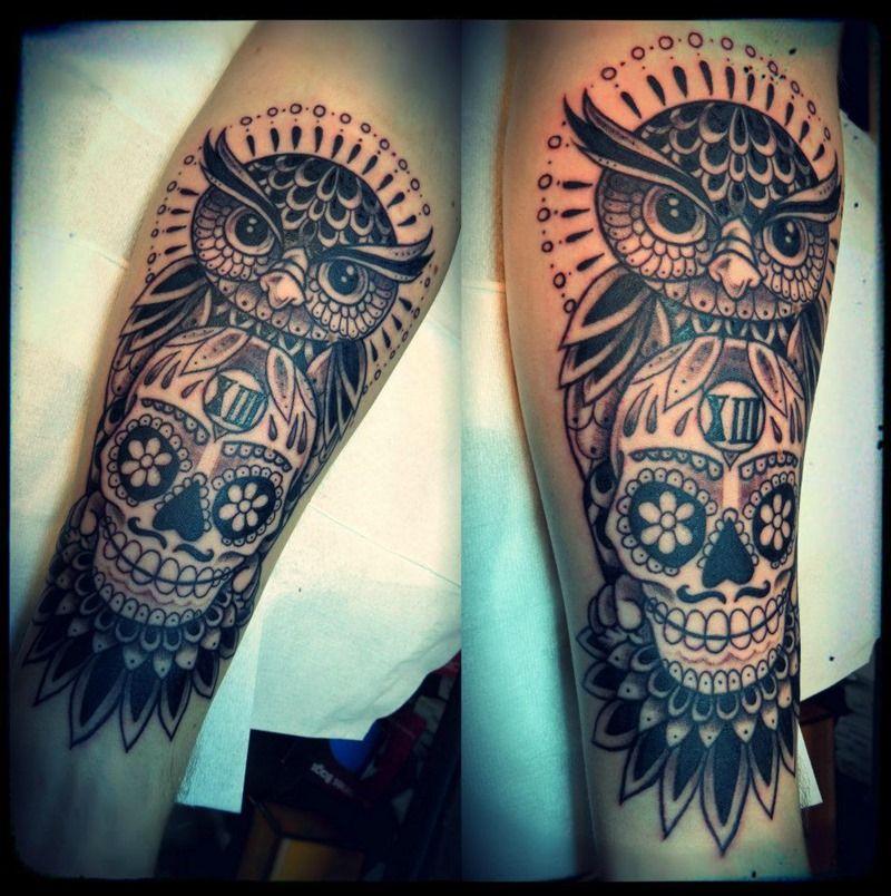 Cool Owl and Skull Tattoo on Leg for Men
