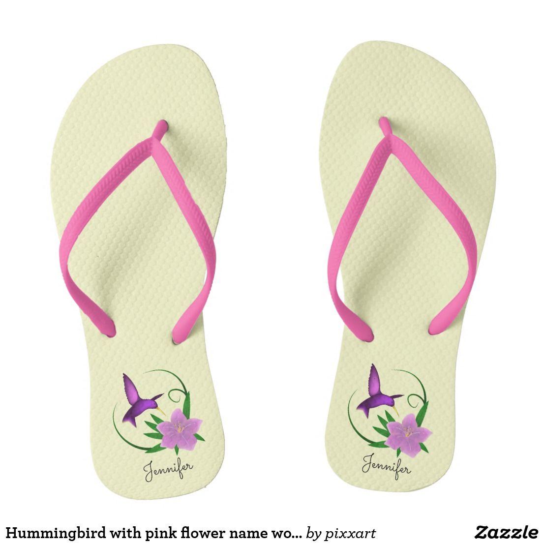 Hummingbird with pink flower name womens flip flops
