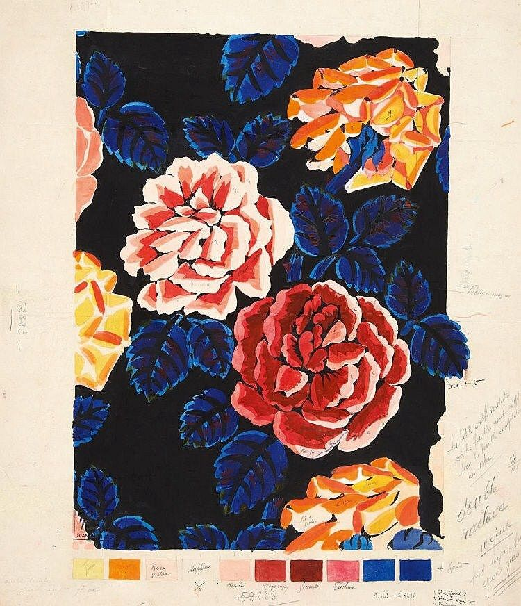 raoul dufy textile design roses 1920s for bianchini f rier lyon source raoul dufy. Black Bedroom Furniture Sets. Home Design Ideas