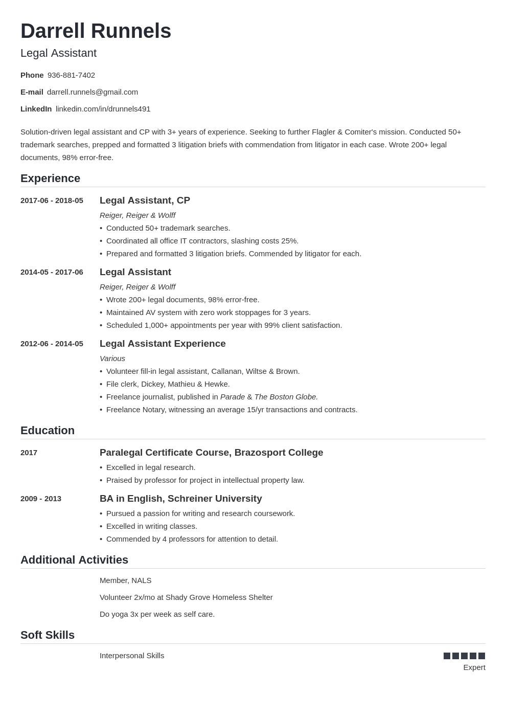 Legal Assistant Resume in 2020 Resume examples, Job