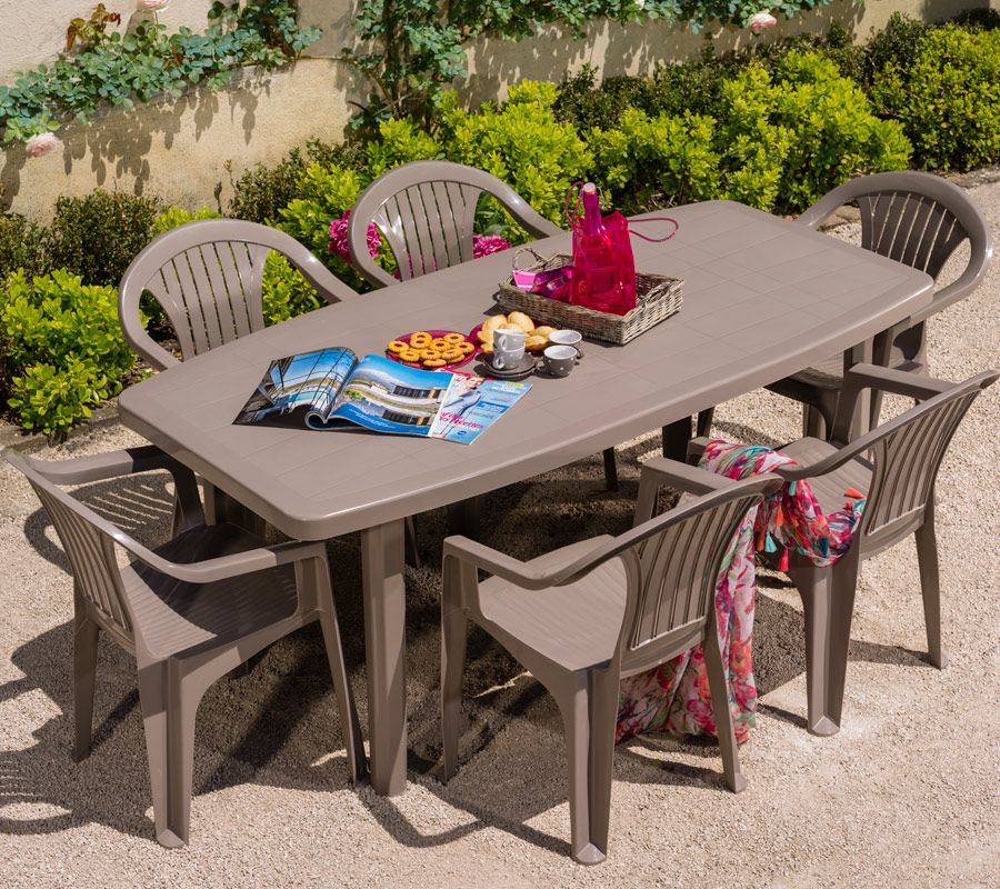Salon de jardin: Table OCEAN + 6 fauteuils ARUBA coloris taupe ...