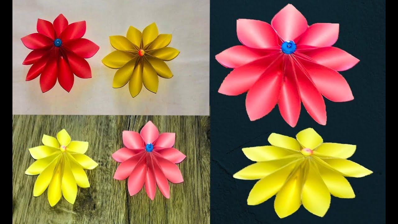 Beautiful Diy Paper Flower With Colour Paper Simple Paper Flowers
