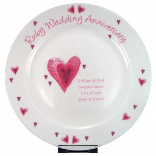 Personalised Ruby Anniversary Plate 40th Anniversary Gifts Ruby