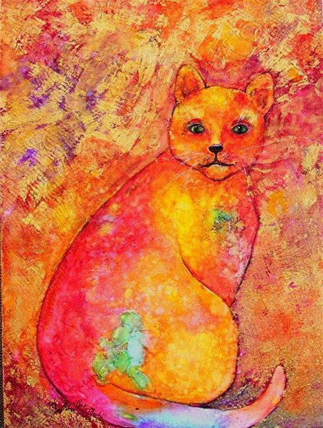 FREE SHIPPING  Abstract Flower Cat with  Gold by RickyArtGallery