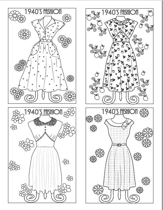 1940's Vintage Dresses: An Adult Coloring Book 20 by BethIngrias