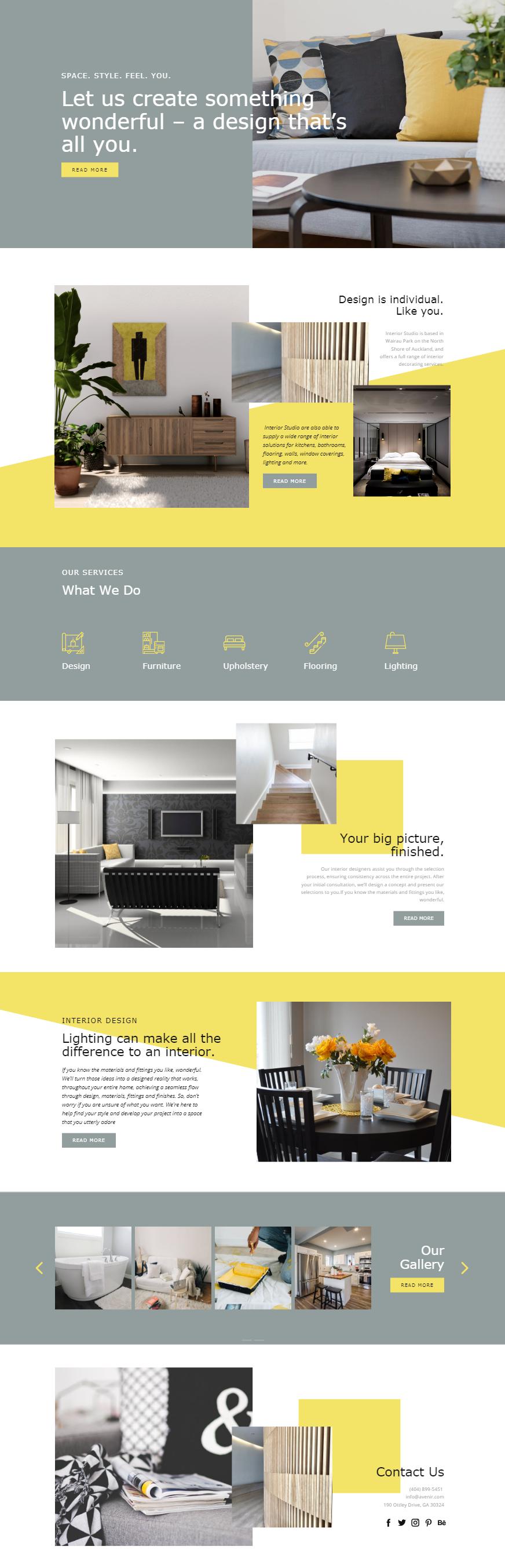 Free Template by Nicepage Builder   Interior design website ...