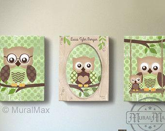 owl kids art owl decor art for children owls nursery art set