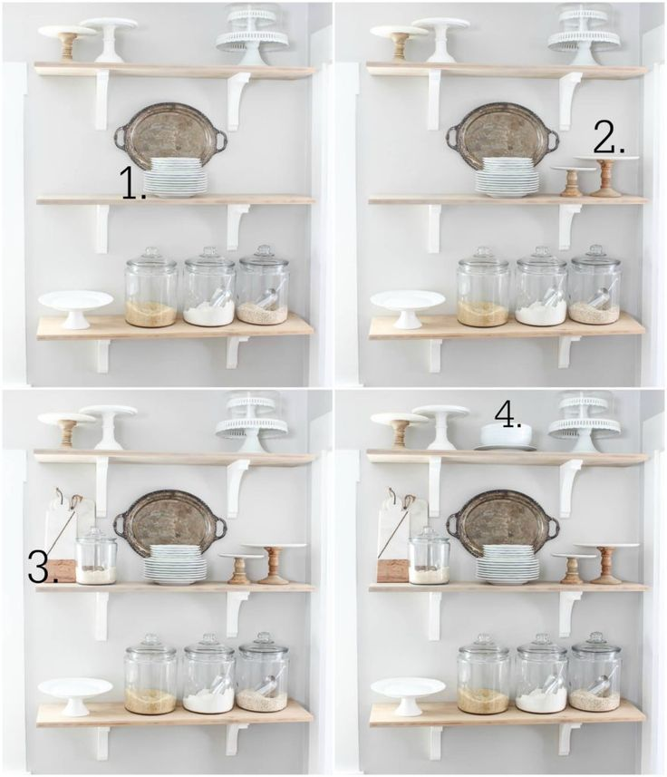 How I Style the Open Shelves in our Kitchen - Rooms For Rent blog- How I   tackle each individual shelf, and the overall look of all three open   shelves together. #shelves #kitchen #farmhouse #homedecor