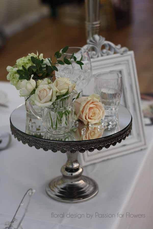 Beautiful Wedding Table Centre With Cake Stand And Vintage Roses