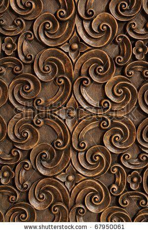 Stock photo wood thai pattern handmade wood carvings wood