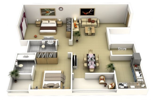 50 plans 3d d 39 appartement avec 2 chambres sims house tiny houses and apartment floor plans - Lay outs idee klein appartement ...