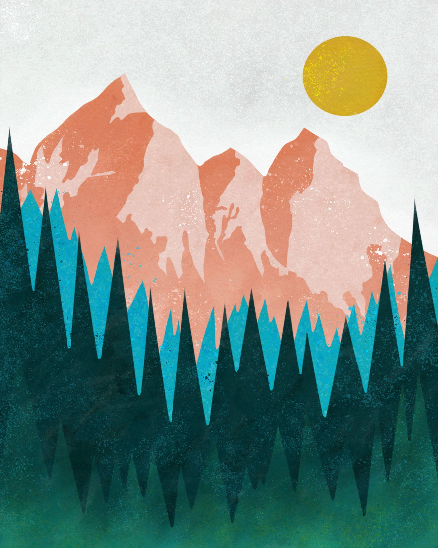 Mountain Forest Art Nordic Art Print Scandi Wall Art   Etsy in ...
