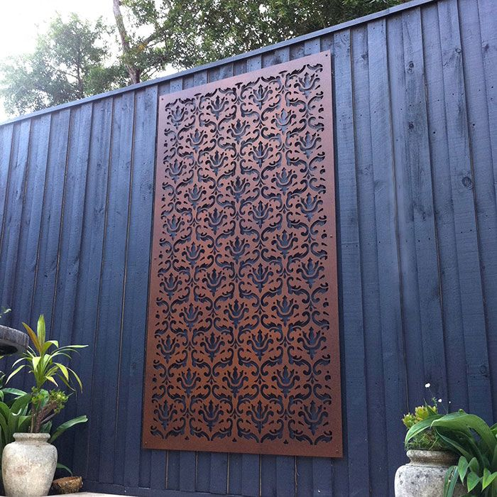 Damask Garden Screen Painted With Faux Rust Paint