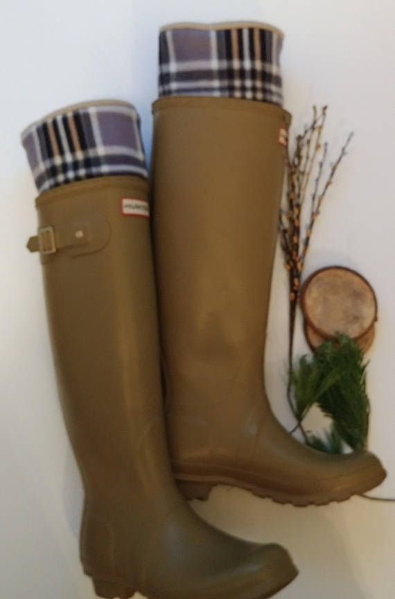 Boot Socks Fleece Rain Boot Liners Tan With Tan Plaid Cuff Tall