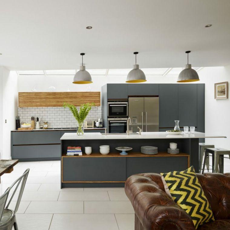 esempio per arredare soggiorno cucina con mobili moderni grigi ...
