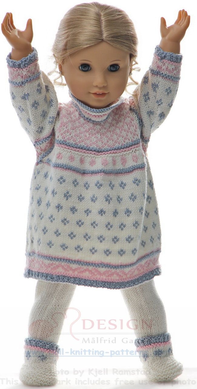 Knitted doll clothes pattern | Maalfrid-Gausel Knitting Patterns for ...