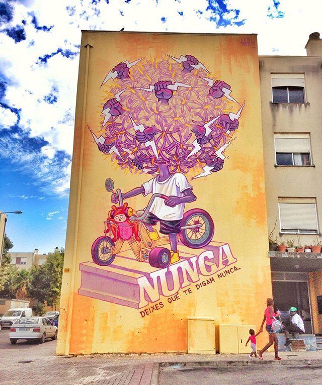 "Mário Belém public art - ""Nunca deixes que te digam nunca"", mural na Quinta do Mocho em Loures //// """"Never let anyone tell you never"", mural in neighborhood near Lisbon.  #portugalrocks"
