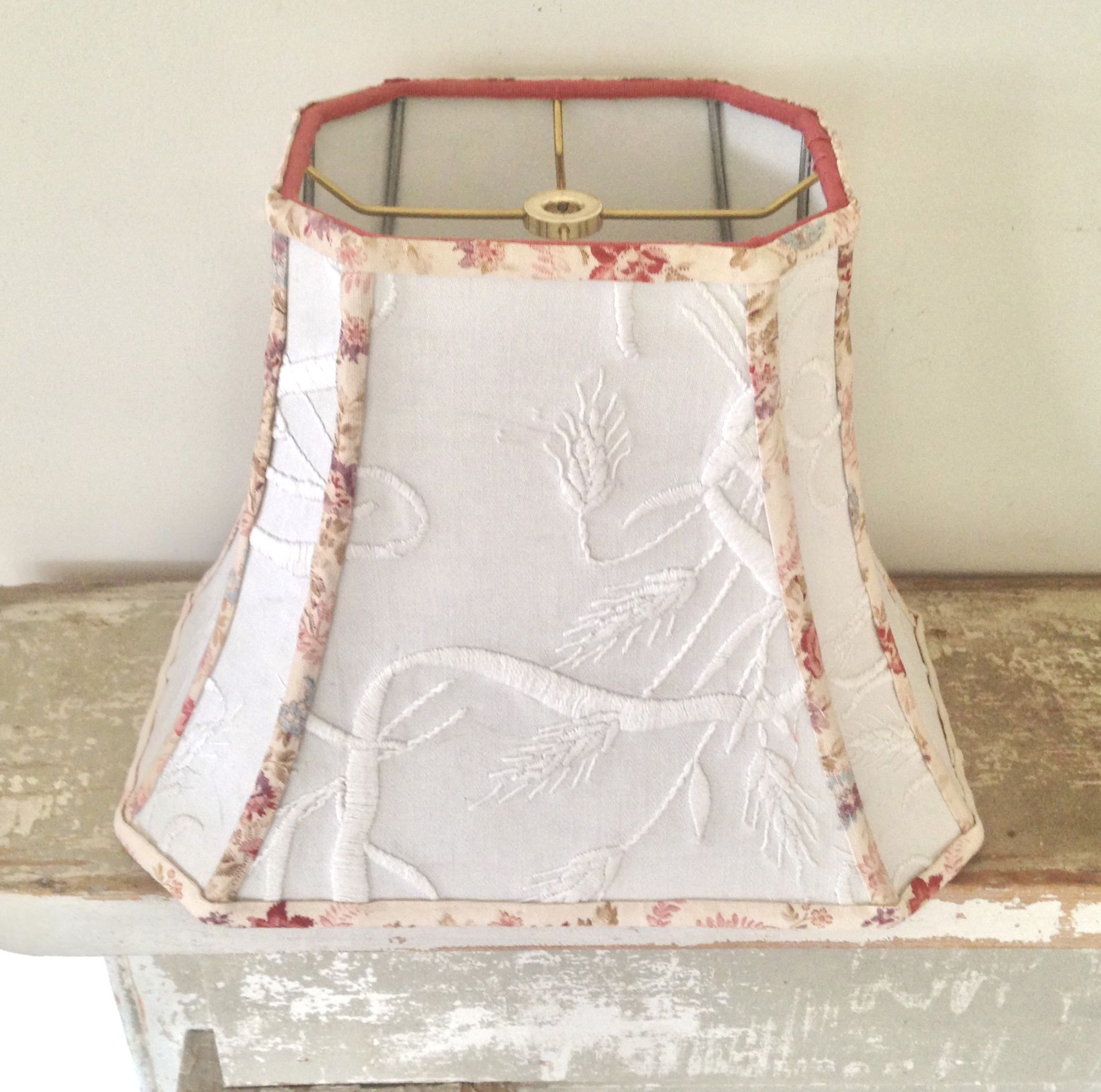Wheat Embroidery Lampshade Off White Rectangle Lamp Shade 7 T X 12 B X 9 5 High Vintage Fabric Lampshad Rectangle Lamp Shade Fabric Lampshade Vintage Fabric