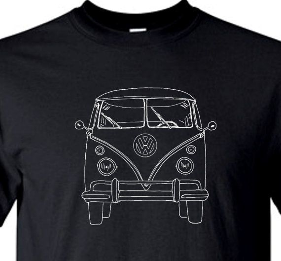 2815119b61 For Daddy  VOLKSWAGEN VW Bus Front View Vintage Retro Black Tee Shirt  Design Med