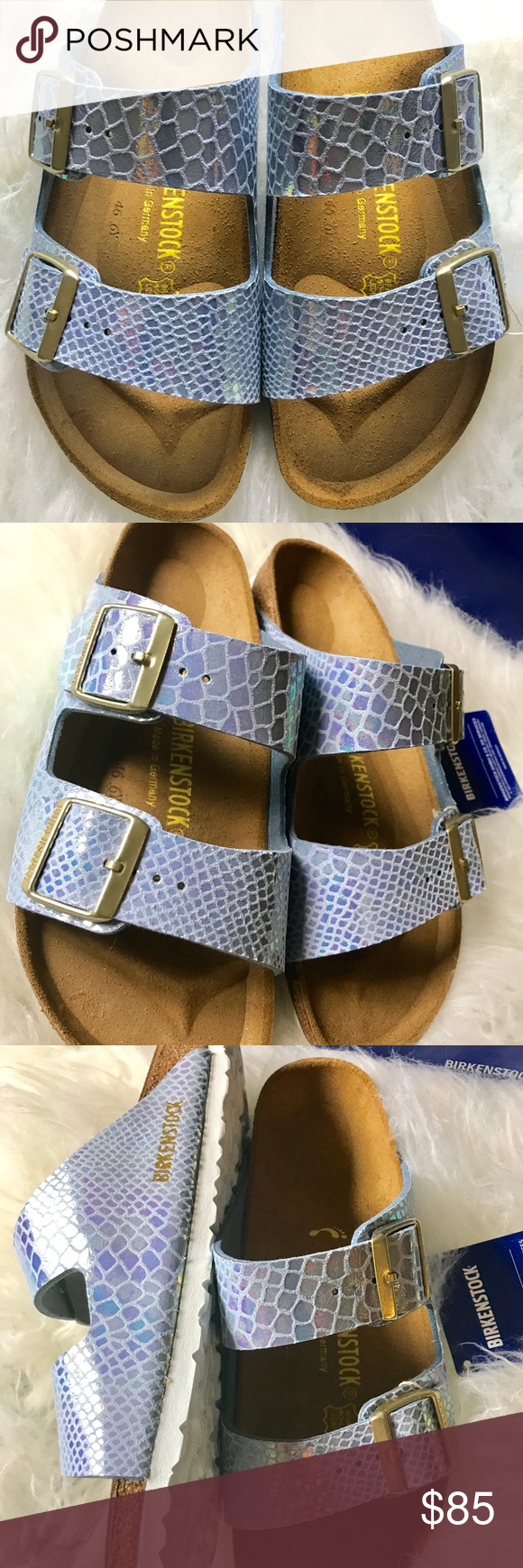 BNWT BIRKENSTOCK SHINY SNAKE SKY 39 N Brand new with tags & box. Box might not be in perfect shape due to handling.  Sz 39 narrow width. Please know your size in Birks before ordering. I can only guarantee I will be sending the European size stated on the listing. All items are inspected throughly and filmed before shipment.  Price is FIRM   Thanks! Birkenstock Shoes Sandals