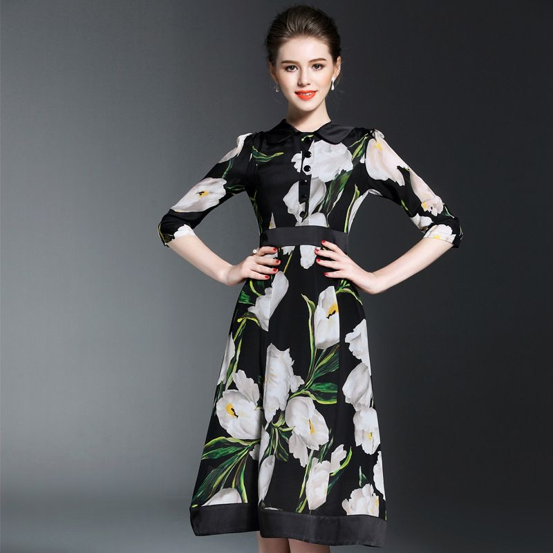 >> Click to Buy << Jane's Garden 2017 Fashion Summer/Spring Dress Dresses Women Syigw Bodycon 100% Silk Party Elegant Club Floral Print Casual Cute #Affiliate