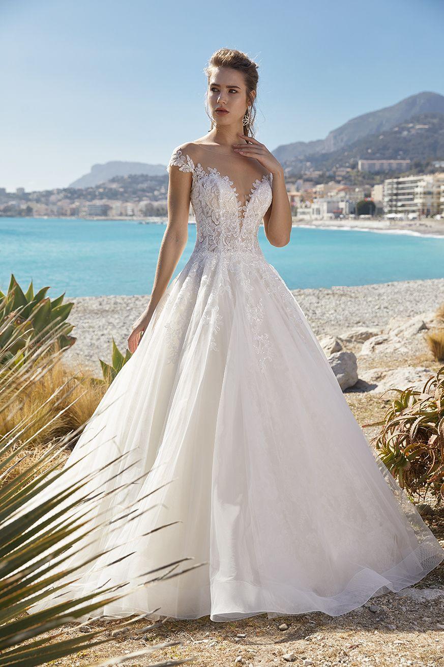 Short Sleeve Illusion Bodice Ball Gown Wedding Dress Kleinfeld Bridal In 2020 Wedding Dresses Kleinfeld Ball Gown Wedding Dress Ball Gowns