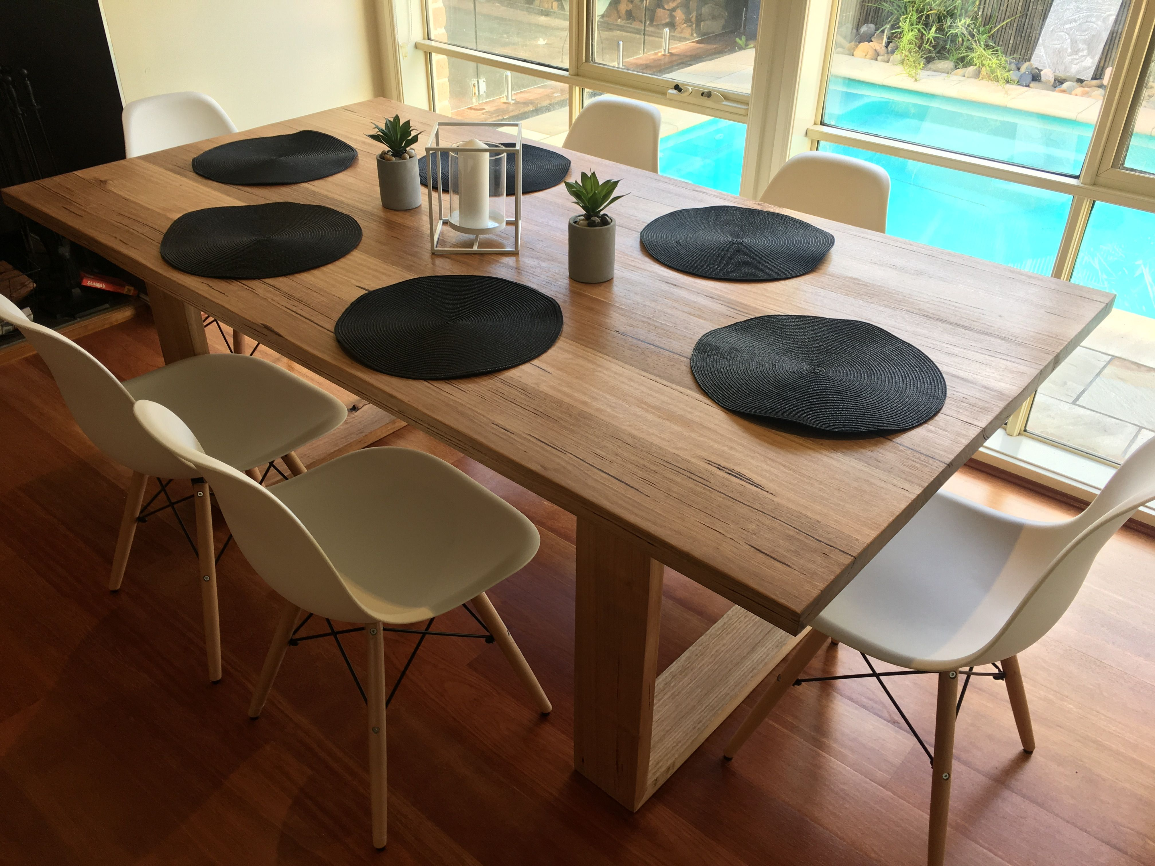 Recycled messmate dining table with wooden legs