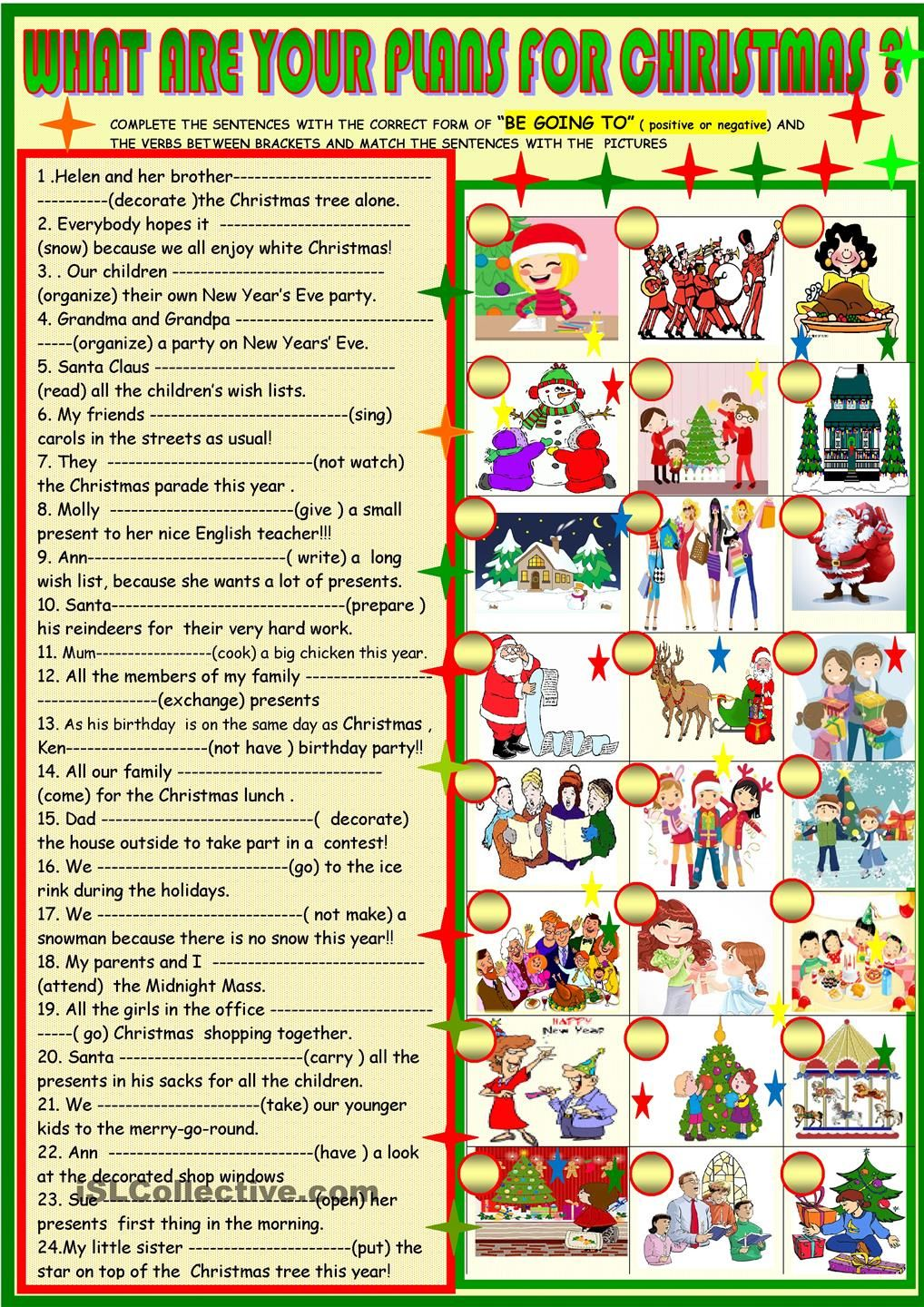 what are your plans for christmas be going to esl worksheets of the day english teaching. Black Bedroom Furniture Sets. Home Design Ideas