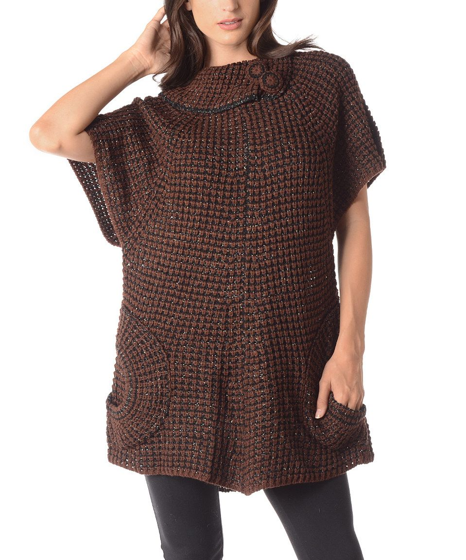 Another great find on #zulily! Brown & Black Contrast-Knit Asymmetric-Collar Sweater - Plus by Shoreline #zulilyfinds