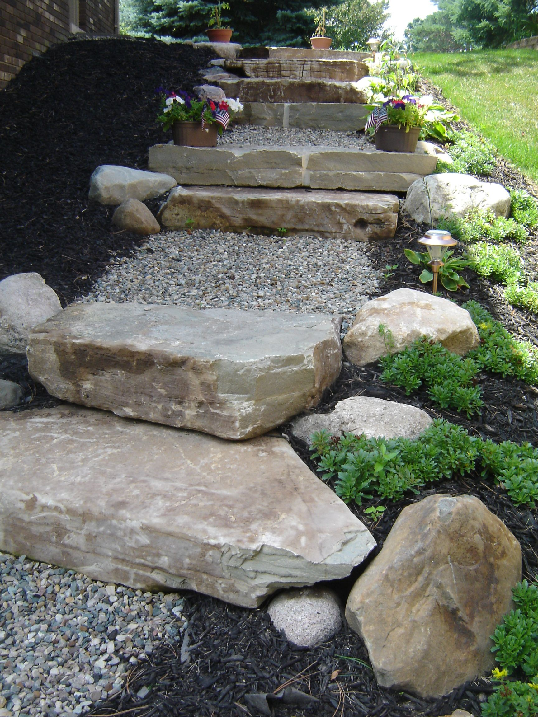Rock Steps: Limestone Stairs With Crushed Stone Pathway.