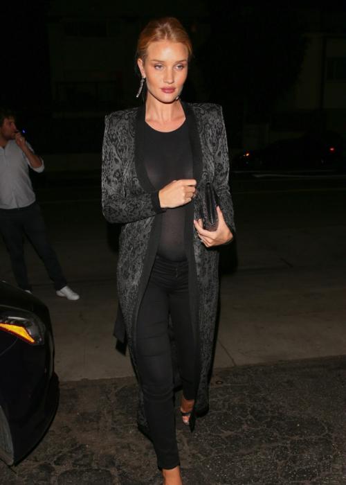 3/11/17 - Rosie Huntington-Whiteley out for dinner in Santa Monica.