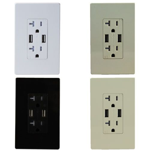 Tu2204a 20 Amp Power Outlet With 4 Amp Usb Charger Duplex Receptacle Socket Plug Usb Charger Outlet Usb Chargers Dual Usb