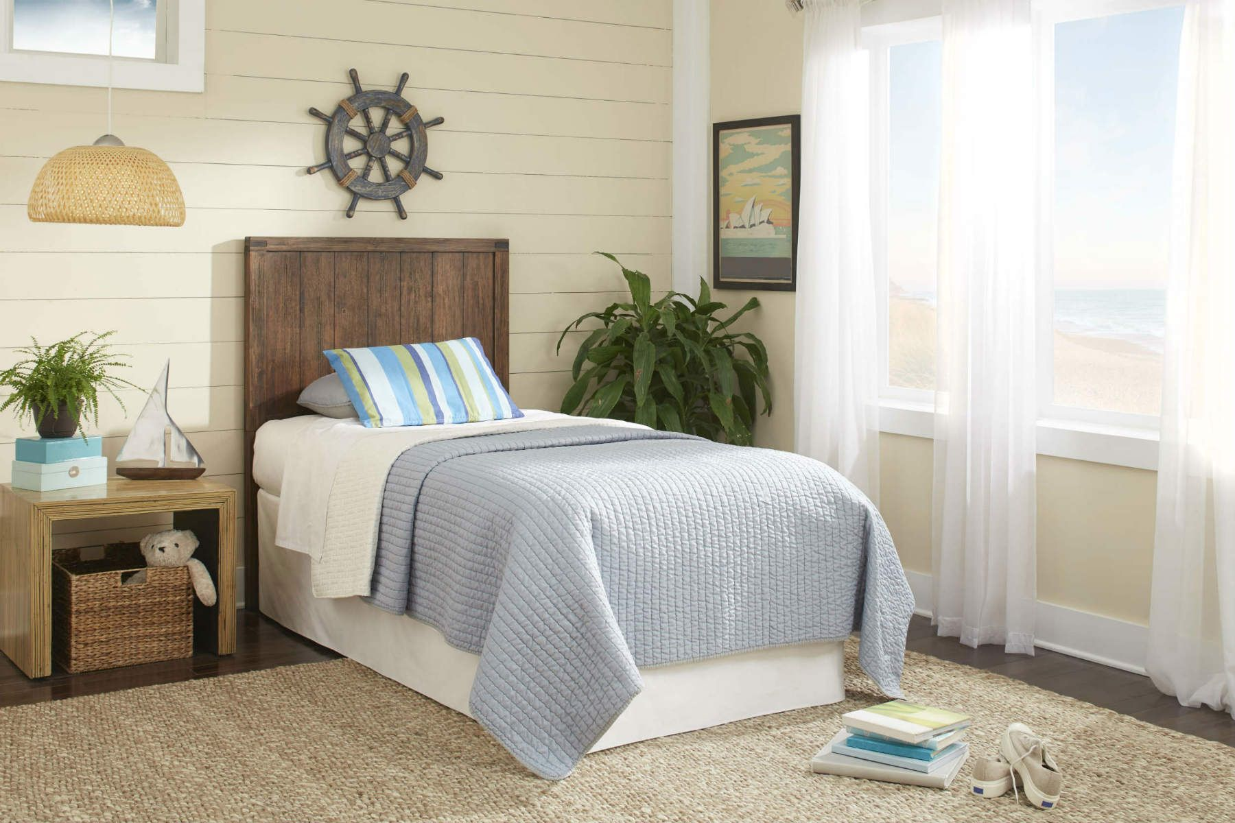 PORTER HEADBOARD u Featuring the roughhewn look of wood complete