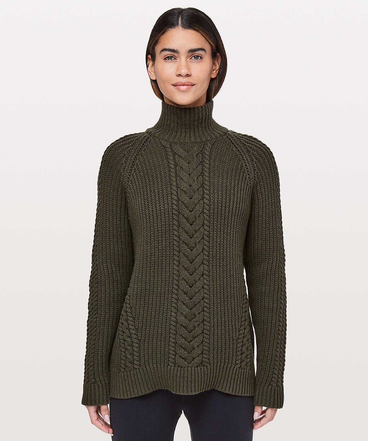 40c263d2bb3 Bring the Cozy Turtleneck Sweater in dark olive - LuLuemon ad ...