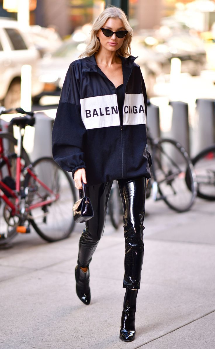 ELSA HOSK - leather pants and boots, oversized sporty jacket and small black bag. #celebritystyle #celebritystreetstyle #elsahosk #elsahoskoutfits