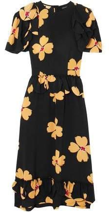 f6fc4b835fc430 Simone Rocha Ruffle-trimmed Floral-print Silk Crepe De Chine Midi Dress