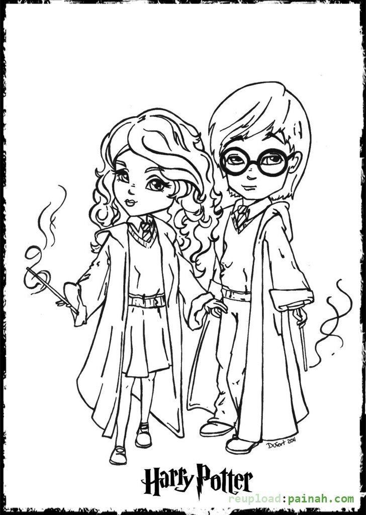 Harry Potter Coloring Pages Printable Cartoon Cute