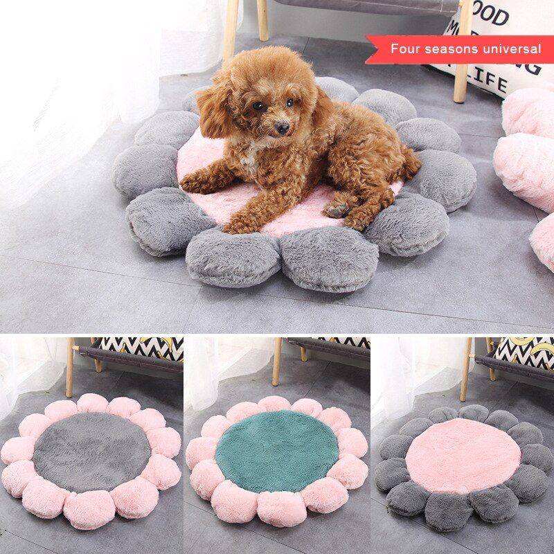 Pet Mat Flower Shape Cats Winter Warm Bed Pets Sleeping Soft Cushion Mattress Home Puppy Warming Blanket Accessories Suppli Dog Bed Large Dog House Bed Dog Bed