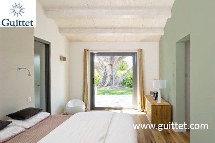 Chambre repeinte en vert olive satin a mat velours peinture guittet guit - Nuancier peinture guittet ...
